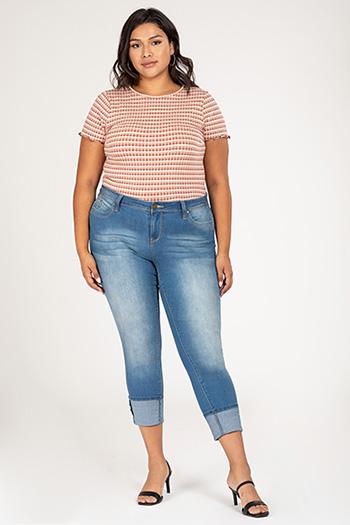 Junior Plus Size WannaBettButt Cuffed Skinny Jean