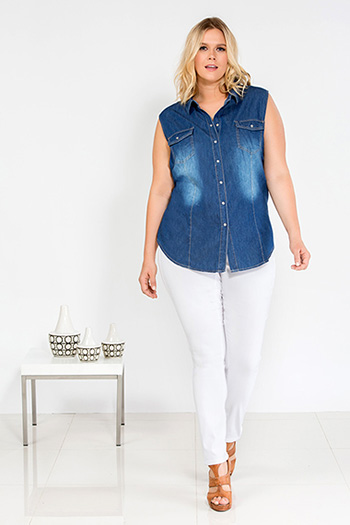 Junior Plus Size Chambray Denim Top