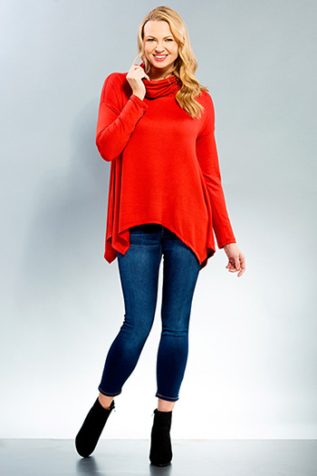 Women Hi-low Long Sleeve Cowl Neck Top