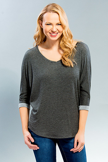 Women V-Neck Dolman Tunic