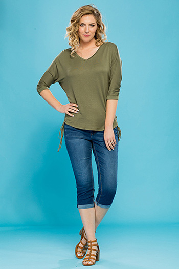 Women Side Lace-Up Dolman Top