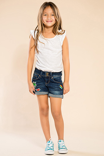 Kids Double-Button Shorts with Patches