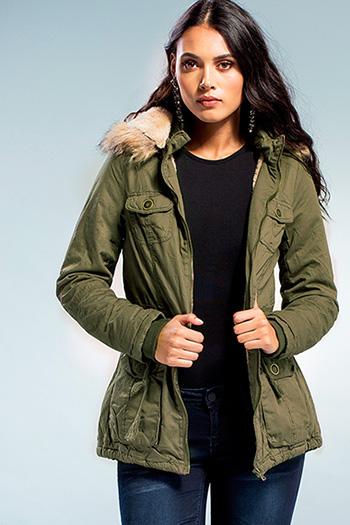 Junior Cotton Faux Fur Trimmed Hood Jacket