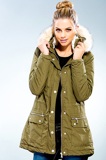 Junior Cotton Parka Jacket with Detachable Faux Fur Hood Trim