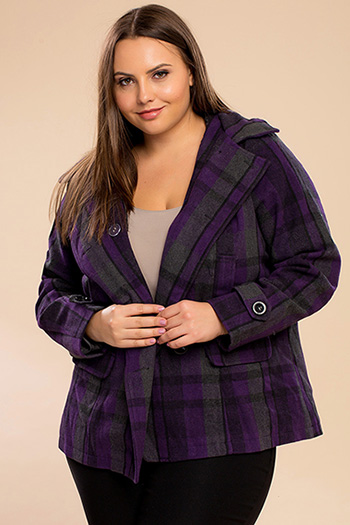 Junior Plus Fur Plaid Wool Coat