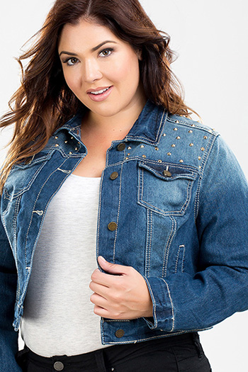 Junior Plus Size Studded Denim Jacket