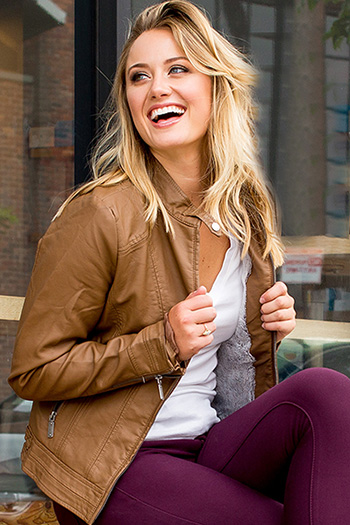 Women Faux Leather Jacket with Fur Lining