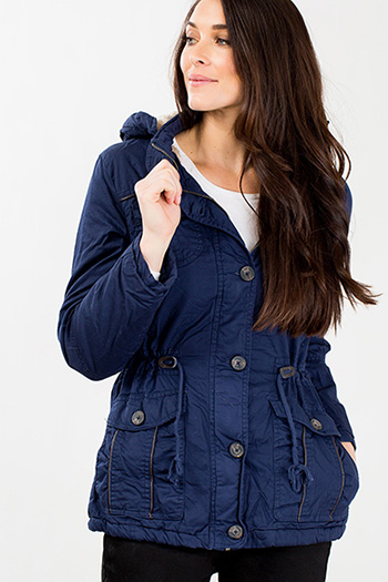 Women Faux Fur Lining Utility Jacket