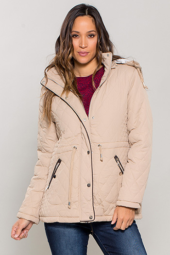 Women Quilted Puffer Coat with Fur Lining