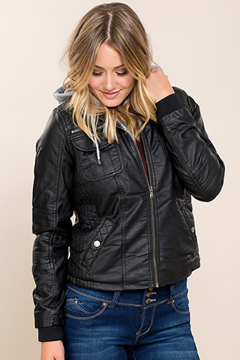 Women Faux Leather Jacket with Fleece Hood