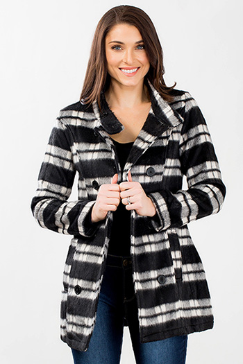 Women Funnel Neck Plaid Coat