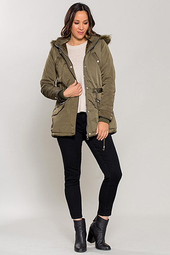 Women Parka with Fur Trim Hood