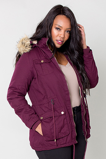 Women Plus Size Cotton Jacket with Detachable Hood