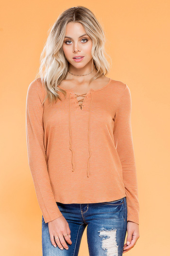 Junior Lace-Up Long Sleeve Top
