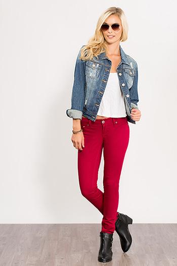 Junior Color Block Skinny Jean