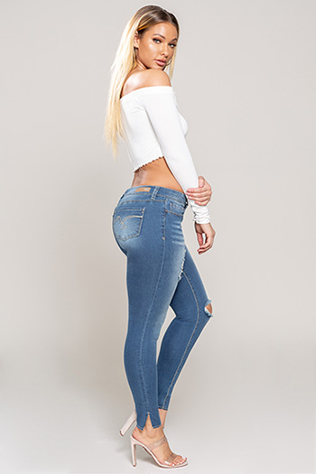 Junior Luxe Raw Hem Skinny with Side Slit