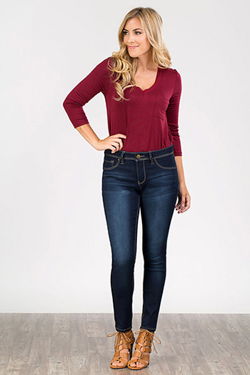 Women Petite 5 Pocket Skinny Jeans