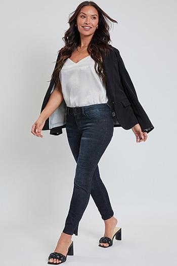 Women Petite 2-Button Ankle Jean with Side Slit Hem