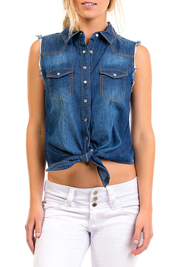 Junior Frayed Chambray Top