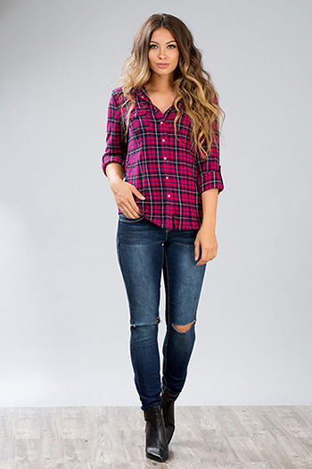 Junior Hooded Plaid Flannel Top