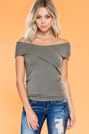 Junior Off-Shoulder Cross Over Fitted Top