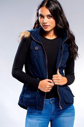 Junior Detachable Faux Fur Hoodie Vest