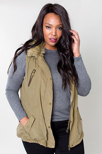 Women Plus Size Vest with Detachable Fur Collar