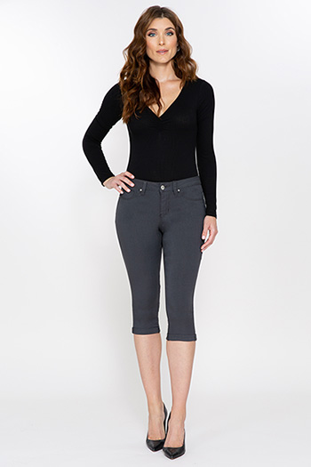 Women Hyperstretch Double Rolled Cuff Capri