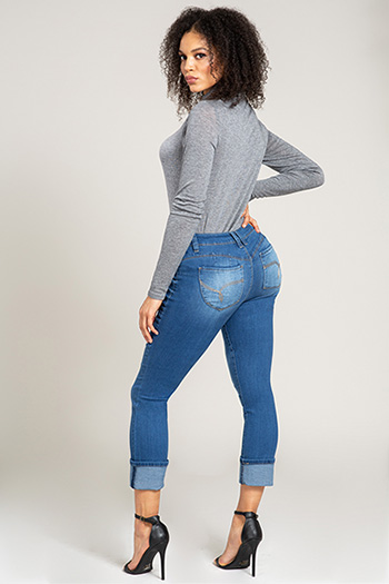 Women WannaBettaButt Mid-Rise Denim Cuffed Ankle Jean