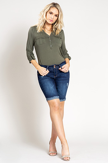 Women Cuffed Denim Bermuda