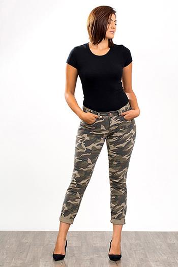 Women Cuffed Camo Skinny Jeans
