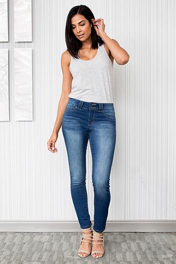 Women Super Soft Double-Button Skinny Jeans