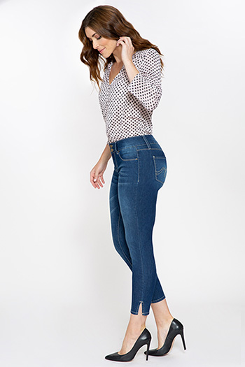 Women 2-Button Ankle Jean with Side Slit Hem