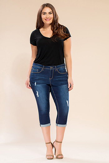Women Plus Size Single-Button Basic Capri
