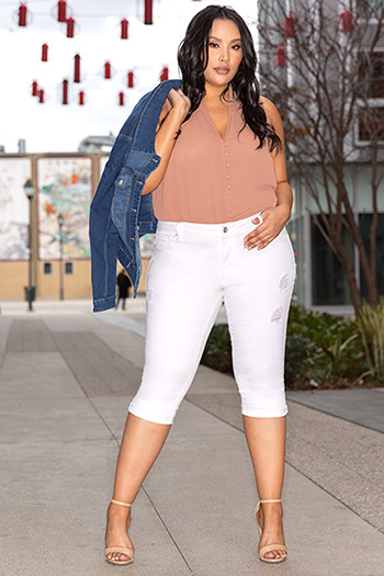 Women Plus Size Distressed Capri with Cuffed Hem