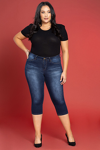 Women Plus Size Basic Capri