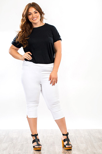 Plus Size Women Super Soft Pull On Capri Pants