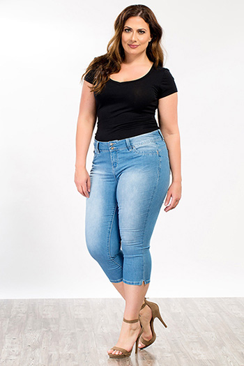 Plus Size Women WannaBettaButt Side Slit Flood