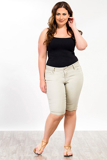 Women Plus WannaBettaButt Twill Cuff Bermuda Shorts