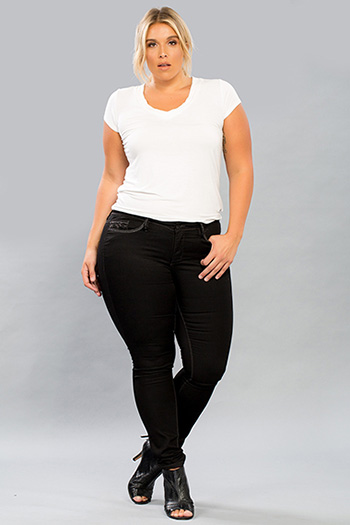 Women Plus Size Skinny Jeans with Embellished Back