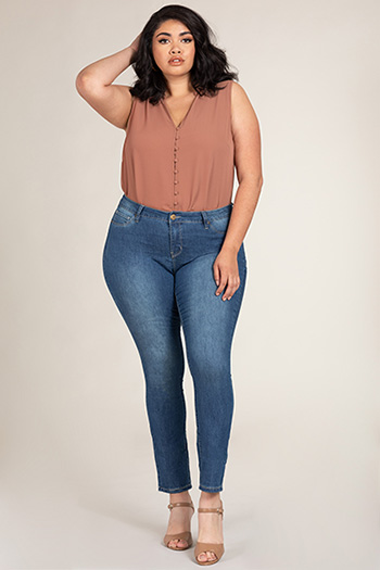Women Plus Size Basic Skinny Jean