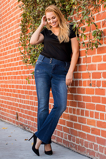 Women Plus Size WannaBettaButt 3-Button Bootcut Jean