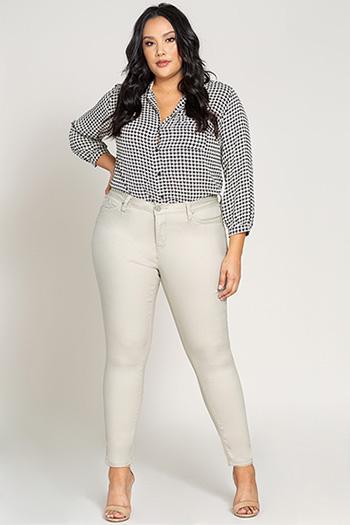 Plus Size Women WannaBettaButt Twill Skinny Jeans
