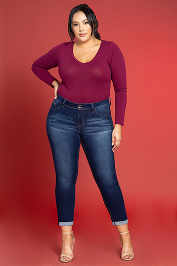 Women Plus Size WannaBettaButt 2-Button Cuffed Skinny
