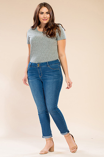 Women Plus Size Rolled Cuff Super Soft Ankle Jean