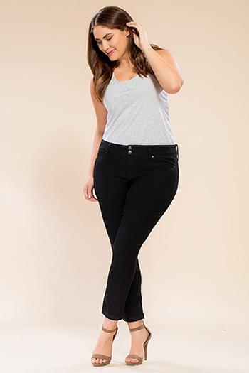 Women Plus Size Rolled Cuff Super Soft Ankle Jean