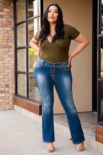 Women Plus Size Basic Heavy Stitch Bootcut Jean