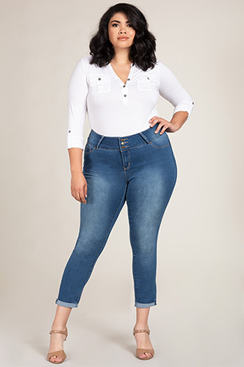 Women Plus Size Super Soft Ankle Jeans with Rolled Cuff