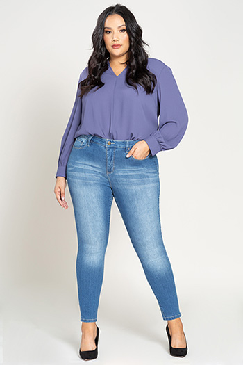 Women Plus Size Hide Your Muffin Top High-Rise Denim Skinny Jeans