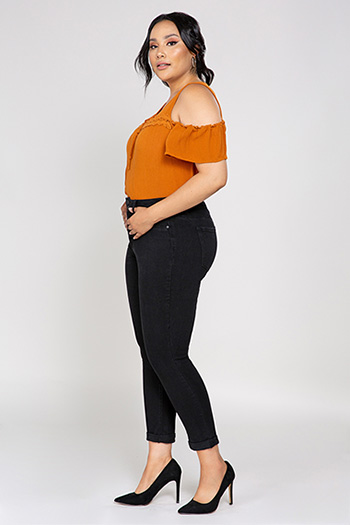 Women Plus Size Hide Your Muffin Top Ankle Jeans